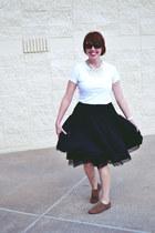 black tulle Anthropologie skirt - white cotton Target t-shirt