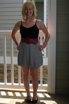 red unknown belt - gray NEAL for Urban Outfitters skirt - black GapBody top