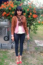 brown scarf - dark brown leather jacket - pink blazer