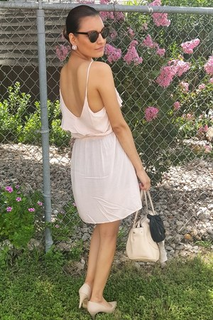 nude Forever 21 pumps - sheer Forever 21 dress