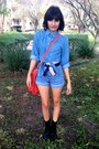 Military-boots-tote-bag-shorts-flag-belt-denim-buttonup-top