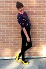 Black-black-stockings-navy-rainbow-balls-sweater-orange-blouse