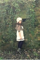 white River Island dress - brown charity shop cardigan - white homemade hat - bl