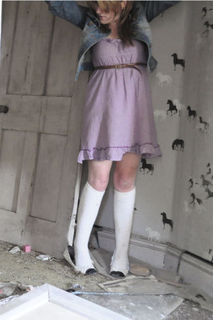 purple Topshop dress - blue new look jacket - white Peacocks socks