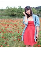 orange H&M dress - blue Mango skirt