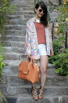 cream H&M jacket - tawny Zalando collection bag - salmon Samsoe & Samsoe blouse