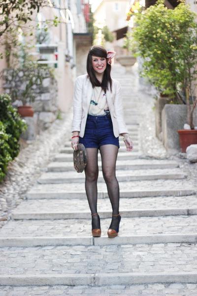 navy Chloe shorts - army green sessun bag - light purple H&M top