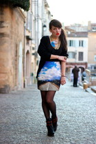 blue Modekungen skirt - yellow necklace H&M accessories