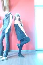 brown guess jeans accessories - black Zara Trf dress - Zara shoes