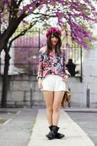 blue Zara shirt - white H&M shorts