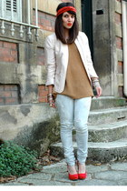 periwinkle Guess Jeans jeans - light pink hm blazer - red turban Bershka accesso