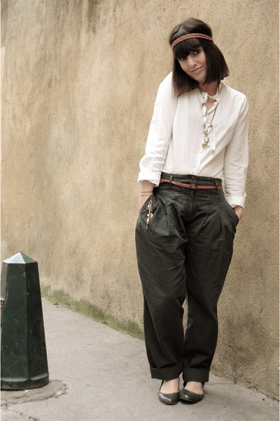 gold SIX accessories - green sessun pants - white a ct skirt