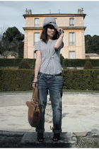 brown Coccinelle accessories - blue guess jeans jeans - silver American Apparel