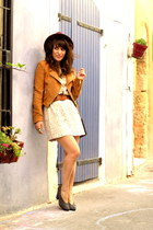 cream Vero Moda dress - tawny hm jacket - gray clutch vintage accessories