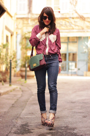 magenta Chicwish shirt - blue Cheap Monday jeans - green Jeffrey Campbell wedges