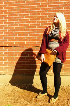 sweater - aztec blue Forever21 dress - paisley scarf - purse - Minnetonka flats