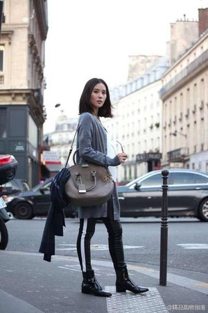 black pants - heather gray cardigan
