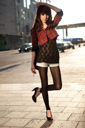 lace top top - plaid jacket - black tights tights - denim shorts shorts