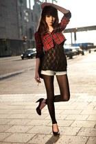 lace top top - plaid jacket - black tights tights - denim shorts shorts