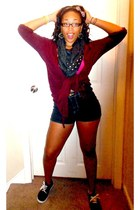 dark gray scarf - black denim Forever 21 shorts - crimson cardigan