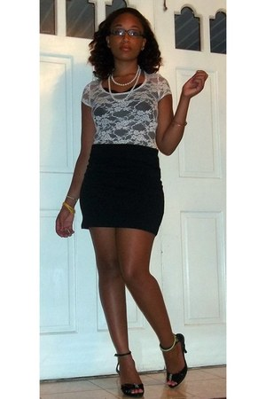 white lace shirt - white pearl wrap necklace - black pencil H&M skirt
