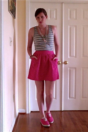 hot pink polka dots skirt - hot pink shoes - silver striped shirt