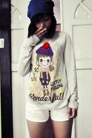 cotton bench hat - shorts - cotton sweatshirt