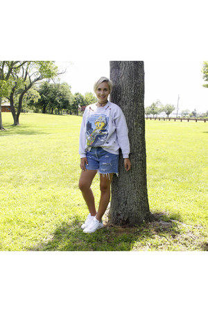 Solitary Consignments sweatshirt - Chic Jacks shorts - Adidas sneakers