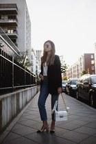 blue mom Miss Selfridge jeans - black Mango blazer - white jiji lanvin bag