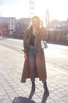 camel Zara coat - blue mom jeans Miss Selfridge jeans