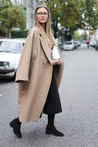 camel oversized H&M coat - black & other stories boots