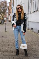black desigual jacket - light blue One Denim jeans - white jiji bag lanvin bag
