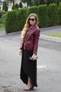 Black-hi-low-target-dress-crimson-faux-leather-forever-21-jacket