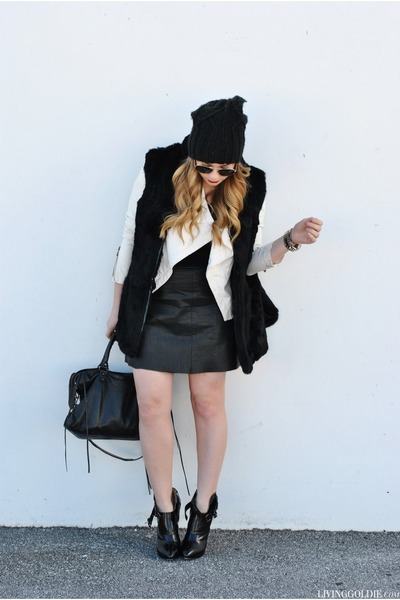 black PROENZA SCHOULER boots - white Bebe jacket - black balenciaga bag
