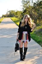 red asos skirt - black Vince Camuto boots - black vintage blazer