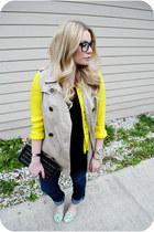 yellow shirt - sky blue kate spade flats - beige vest