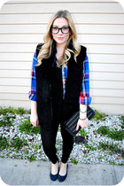 blue blouse - red blouse - black vest - navy flats