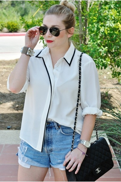 white vintage blouse - black Chanel bag