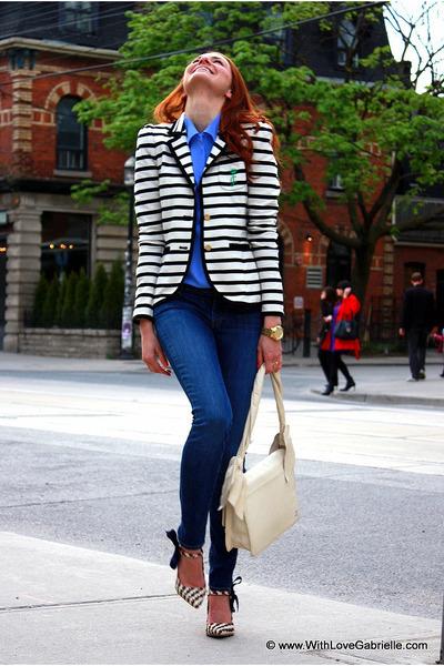 black striped blazer - blue shirt - eggshell bag - navy denim pants