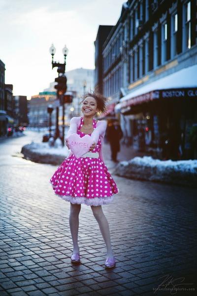 pink halter modcloth dress - pink petticoat Miss Brache skirt