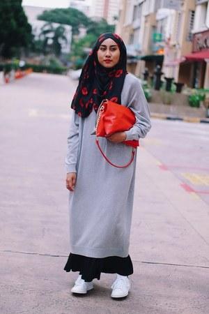 black maxi skirt Uniqlo skirt - silver sweater dress Monki sweater