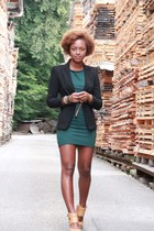 mustard Topshop wedges - teal American Apparel dress - black Zara blazer