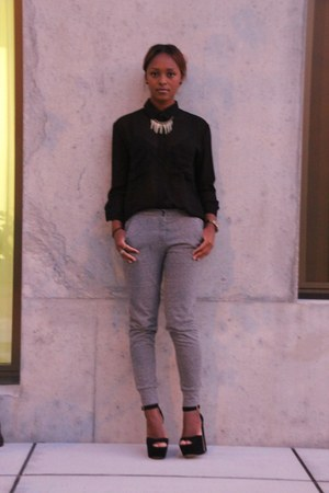 black Lush blouse - heather gray madewell pants - black Steve Madden heels