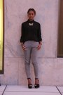 Black-lush-blouse-heather-gray-madewell-pants-black-steve-madden-heels