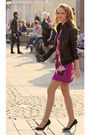 Purple-h-m-dress-black-river-island-jacket-black-shoes
