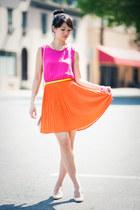 hot pink Forever 21 dress - neutral asos bag