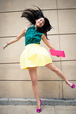 hot pink neon Forever 21 purse - yellow Zara skirt