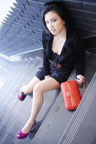 orange Chanel lambskin 255 purse - purple Stewart Weitzman shoes