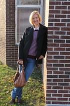 gray calvin klein coat - bootcut JCrew jeans - pattern JCrew sweater