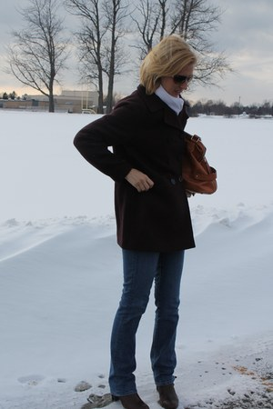 plum peacot Loft coat - bootcut JCrew jeans - vegan leather Sole Society bag